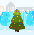 christmas fir tree in city park decorated spruce vector image vector image