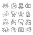 collection monochrome simple honeymoon icon vector image vector image