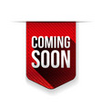 Coming Soon red ribbon vector image vector image