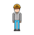 Construction worker man with helmet character