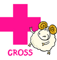 cross shape with cartoon ram vector image vector image