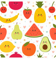 cute seamless pattern with cartoon fruits vector image vector image