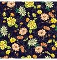 Dark Background Kimono Gold Flowers vector image vector image