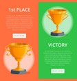 first place victory prize banners vector image vector image