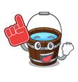 foam finger wooden bucket mascot cartoon vector image vector image