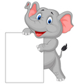funny elephant cartoon and blank sign vector image vector image