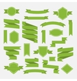 Green ribbons and label set in flat stylePart III vector image vector image