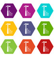 hammer and nails icon set color hexahedron vector image vector image