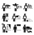 handyman labor labour skilled jobs occupations vector image