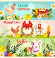 happy easter day greetings banner set design vector image