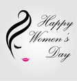 Happy womens day card with face of a lady vector image vector image