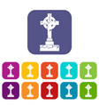 irish celtic cross icons set flat vector image vector image