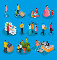 isometric people on holiday shopping set vector image vector image