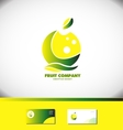 Lemon apple fruit company green yellow logo vector image vector image