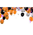 lettering happy halloween design with balloons vector image