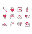 love and valentines day icon set design vector image vector image