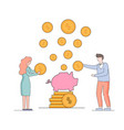 man and woman put gold dollars into pig piggy bank vector image