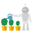 modern robot watering flowers technology concept vector image
