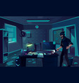 night robbery in cabinet of private detective vector image vector image