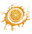 orange juice splash with many drops vector image vector image
