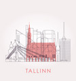 outline tallinn skyline with landmarks vector image vector image