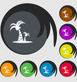 Paml icon sign Symbols on eight colored buttons vector image