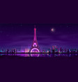 paris night streets cartoon background vector image vector image