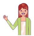 portrait young woman waving hand happy cartoon vector image vector image