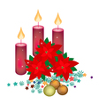 Red Poinsettia Flowers with Christmas Candles vector image