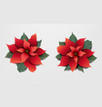 red poinsettia set isolated grey background vector image vector image