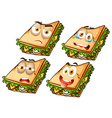 Sandwich with facial expressions vector image vector image