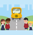 school bus in the street and children students vector image vector image