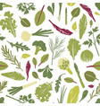 seamless pattern with fresh green plants vector image