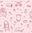 seamless pattern with newborn baby care products vector image