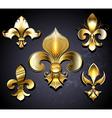 set golden fleur de lis vector image vector image