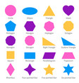 simple geometric 2d shapes school geometry vector image vector image