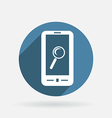 smartphone magnifying glass Circle blue icon vector image vector image