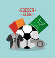 soccer club t shirt ball whistle cards field sport vector image