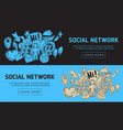 social network web design with isolated essential vector image vector image