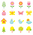 Spring Season Object Icons Set vector image vector image