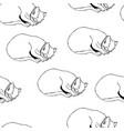 sweet kitten seamless monochrome pattern vector image vector image