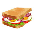 toasted sandwich with green lettuce sliced vector image vector image