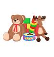 toys set santa claus factory vector image vector image