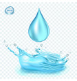 transparent water splash and water drop on vector image vector image