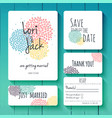 wedding invitation card set thank you save vector image