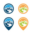 adventure mountain pine tree logo vector image