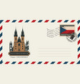 an envelope with postage stamp with prague church vector image vector image
