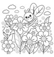 bee flying around flowers vector image