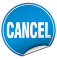 cancel round blue sticker isolated on white vector image vector image