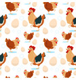 chicken and rooster farming seamless pattern vector image vector image